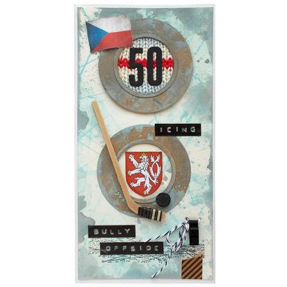 Obrázek Přání k 50. narozeninám Retro hokejový fanda