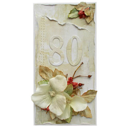 Obrázek Přáníčko k 80. narozeninám Kvĕt s listy