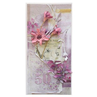 Obrázek Přání k 50. narozeninám Fialové květy