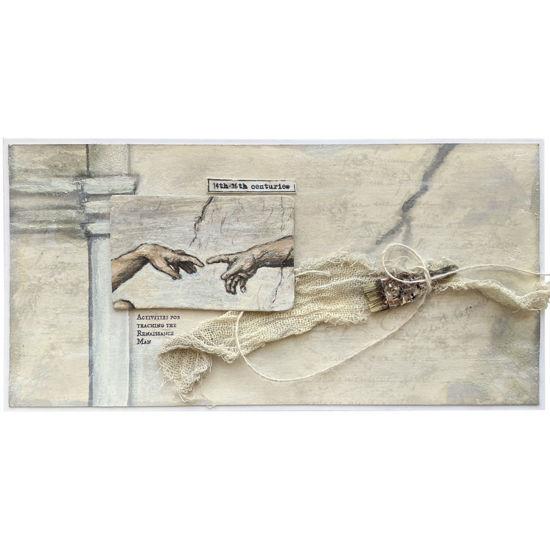 Přáníčko se slavným dílem renesančního malíře Michelangela Buonarrotiho Stvoření Adama