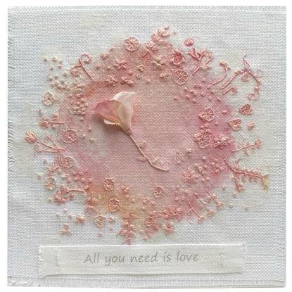 Obrázek Svatební přání Vyšívané růžové