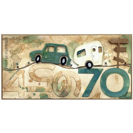 Obrázek Přání k 70. narozeninám S karavanem