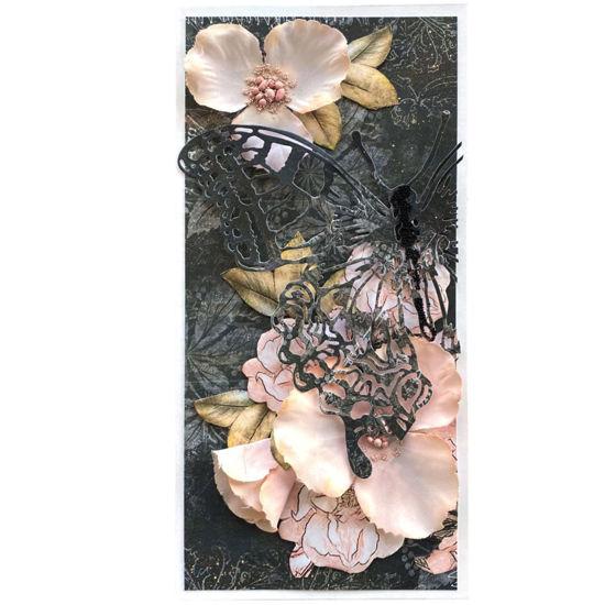 Obrázek Přání do obálky Růžové květy s motýlem