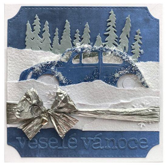 Obrázek Vánoční přání Zmrzlé auto
