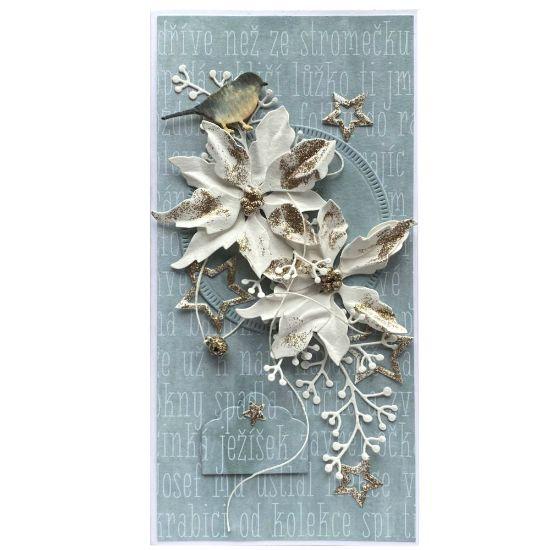 Obrázek Vánoční přání Květy s ptáčkem