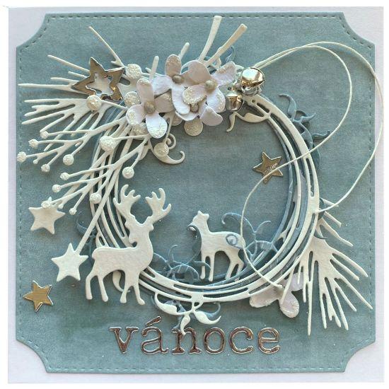 Obrázek Vánoční přání Věneček s jeleny