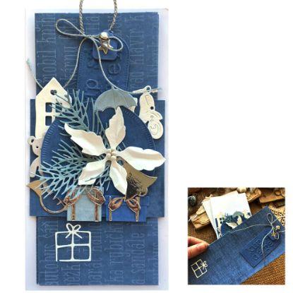 Obrázek Vánoční přání na peníze Nákupní taška modrá