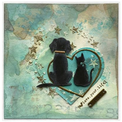 Přáníčko znázorňující lásku mezi dvěma odlišnými tvory nebo jen lidskou lásku ke zvířátkům