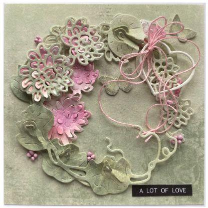 Obrázek Svatební přání Věnec s růžovými květy